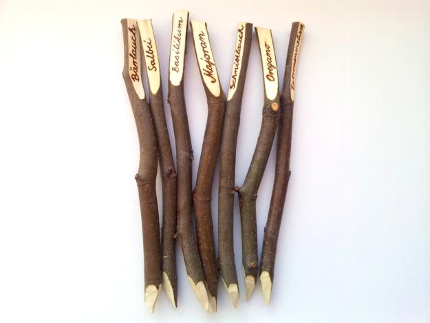 Kräuterschilder aus Holz, einzigartig, wie gewachsen